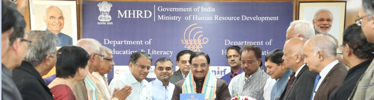 Photo of release of Report on State Level Analysis of Accredited Higher Education Institutions of Uttar Pradesh by Dr Ramesh Pokhriyal Nishank, Hon'ble Minister of Education, Government of India